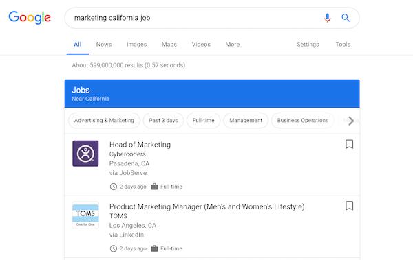 海外版のGoogle for jobs